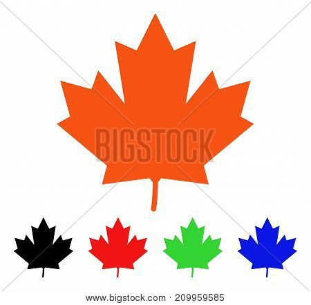 Maple Leaf icon. Vector illustration style is a flat iconic maple leaf symbol with black, orange, red, green, blue color versions. Designed for web apps and software interfaces.