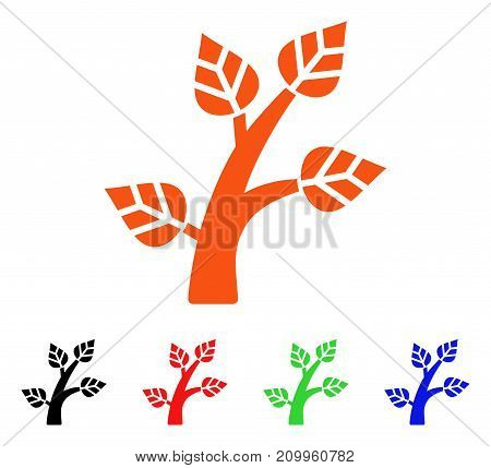 Plant Tree icon. Vector illustration style is a flat iconic plant tree symbol with black, orange, red, green, blue color variants. Designed for web apps and software interfaces.