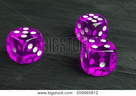 risk concept - playing dice at black wooden background. Playing a game with dice. Pink casino dice rolls. Rolling the dice concept for business risk chance good luck or gambling