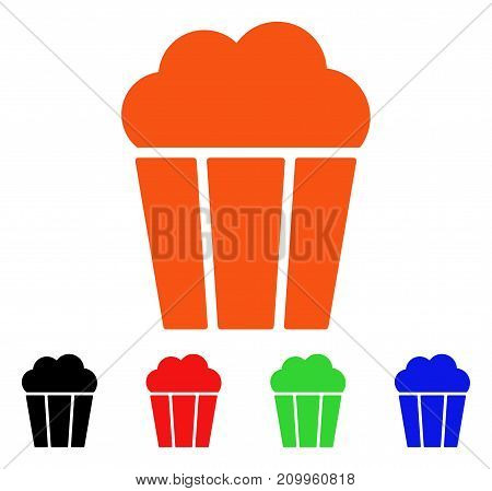 Popcorn Bucket icon. Vector illustration style is a flat iconic popcorn bucket symbol with black, orange, red, green, blue color variants. Designed for web apps and software interfaces.