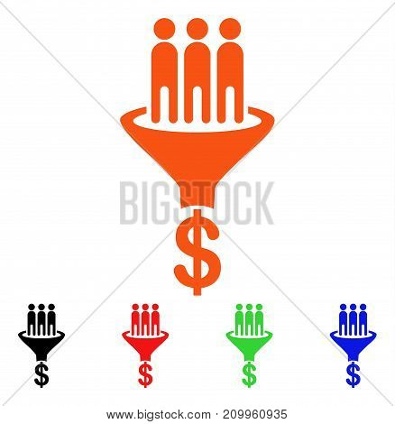 Sales Funnel icon. Vector illustration style is a flat iconic sales funnel symbol with black, orange, red, green, blue color variants. Designed for web apps and software interfaces.