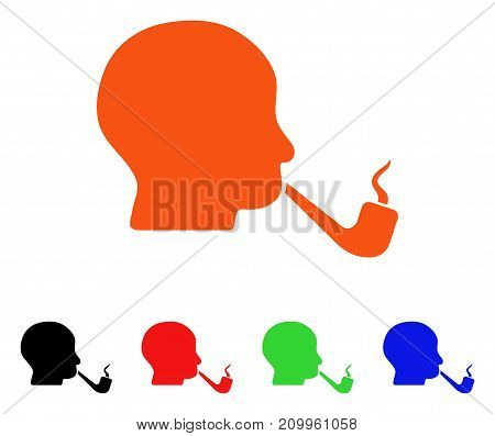 Smoking Detective icon. Vector illustration style is a flat iconic smoking detective symbol with black, orange, red, green, blue color variants. Designed for web apps and software interfaces.