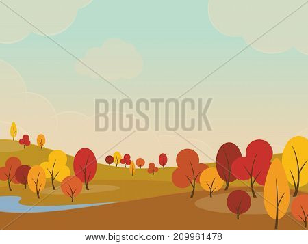 Autumn landscape background with yellow trees in fields and hills. Vector illustration.