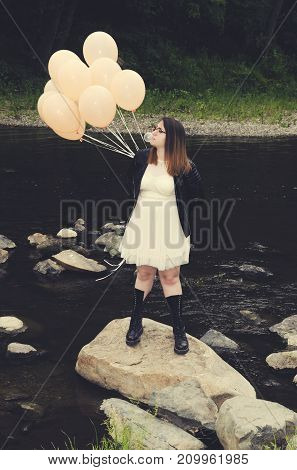 Prom Girl Balloons River Rocks Chewing gum
