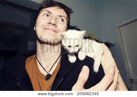 Boy Kitten Love Cute Friendship Caress Friendship