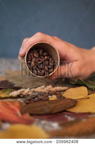 Man pours coffee beans on the table with autumn leaves