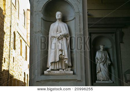 poster of FLORENCE ITALY - JANUARY 12: Statues of Andrea Obgagna and Pater Cosimo in Uffizi art museum on January 19 2009 in Florence Italy