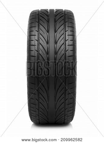 Car tire isolated on white background. Summer new car tyre.
