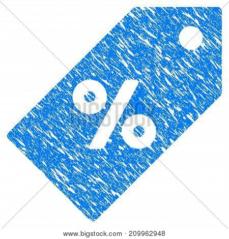 Grunge Discount Tag icon with scratched design and scratched texture. Unclean vector blue Discount Tag pictogram for rubber seal stamp imitations and watermarks. Draft sticker symbol.