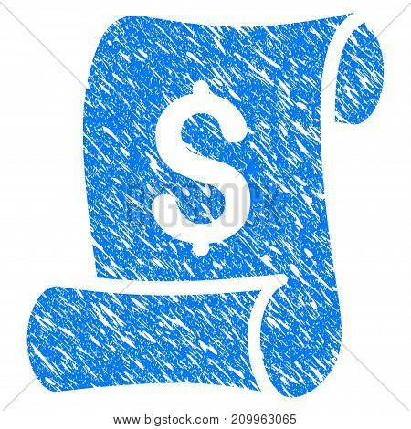 Grunge Financial Receipt Roll icon with scratched design and grungy texture. Unclean vector blue Financial Receipt Roll pictogram for rubber seal stamp imitations and watermarks. Draft emblem symbol.