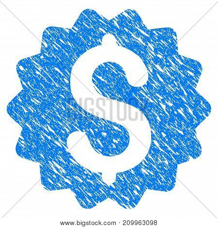 Grunge Financial Reward Seal icon with scratched design and dirty texture. Unclean vector blue Financial Reward Seal pictogram for rubber seal stamp imitations and watermarks. Draft sign symbol.