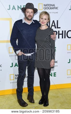 LOS ANGELES - OCT 09:  Joshua Leonard and Allison Pill arrives for the 'Jane' Los Angeles Premiere on October  9, 2017 in Hollywood, CA
