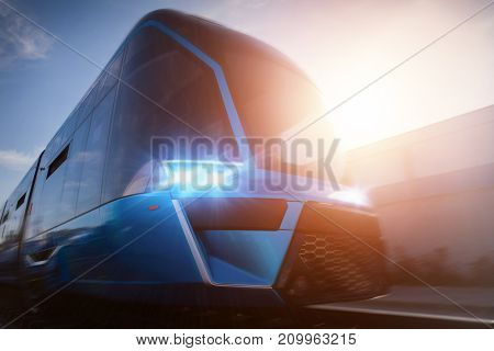 Modern train with a futuristic design captured in motion.