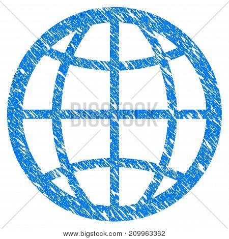 Grunge Globe icon with scratched design and dirty texture. Unclean vector blue Globe pictogram for rubber seal stamp imitations and watermarks. Draft sign symbol.