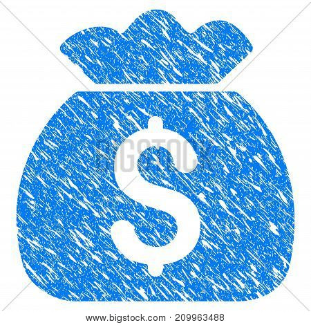 Grunge Money Bag icon with scratched design and unclean texture. Unclean vector blue Money Bag pictogram for rubber seal stamp imitations and watermarks. Draft sign symbol.