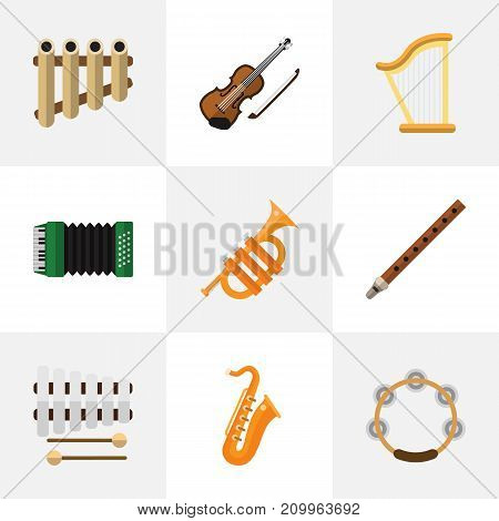 Set Of 9 Editable Sound Flat Icons. Includes Symbols Such As Timbrel, Sticks, Fife And More