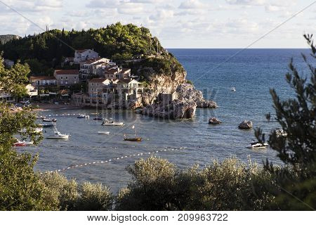 PRZNO, MONTENEGRO - SEPTEMBER 13, 2013: It is a view of the small resort village on the Adriatic coast.