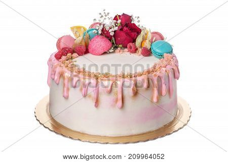 A birthday cake for the girl's birthday. On a white background