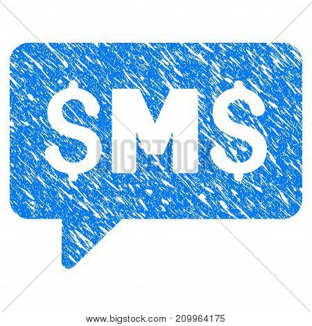 Grunge SMS Message icon with scratched design and unclean texture. Unclean vector blue SMS Message pictogram for rubber seal stamp imitations and watermarks. Draft sign symbol.