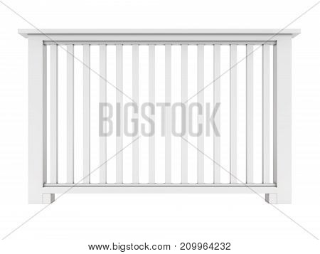 White wooden railing with wooden balusters 3d model render