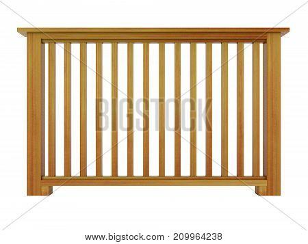 Cedar wooden railing with wooden balusters 3d model render