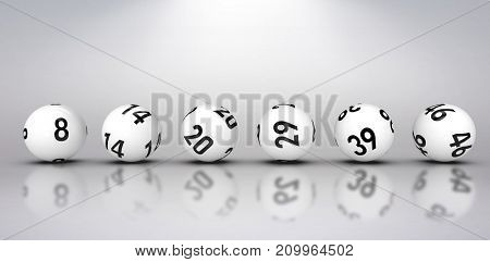 Line of lottery balls against grey background