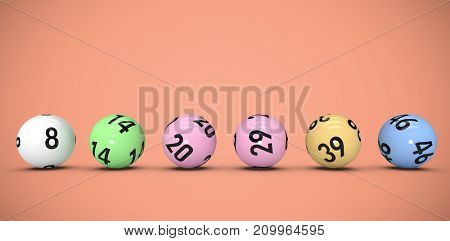 Line of lottery balls against red background