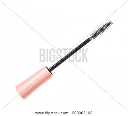 Mascara wand on white background
