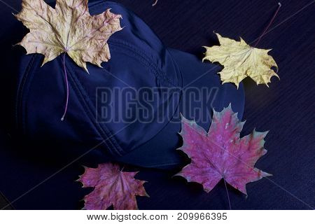 Black Sports Hat, Strewn With Autumn Fallen Leaves. On A Dark Background.
