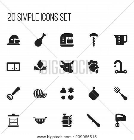 Set Of 20 Editable Cook Icons. Includes Symbols Such As Kitchen Blade, Husker, Silverware And More