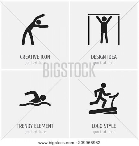 Set Of 4 Editable Fitness Icons. Includes Symbols Such As Racetrack Training, Exercise, Street Workout And More
