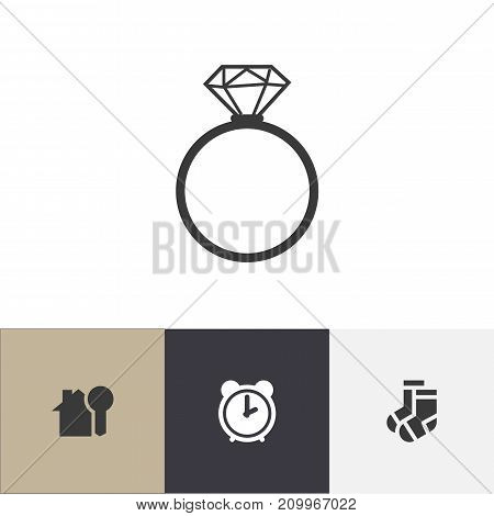 Set Of 4 Editable Kin Icons. Includes Symbols Such As Hosiery, House Key, Solitaire Diamond And More