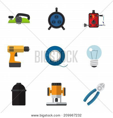 Set Of 9 Editable Electrical Flat Icons. Includes Symbols Such As Holder, Receptacle, Nipper And More