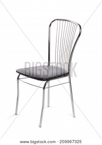 Normal gray chair on white isolated background with backrest and chrome cascade