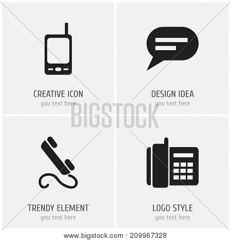Set Of 4 Editable Device Icons. Includes Symbols Such As Home Cellphone, Radio Talkie, Comment And More