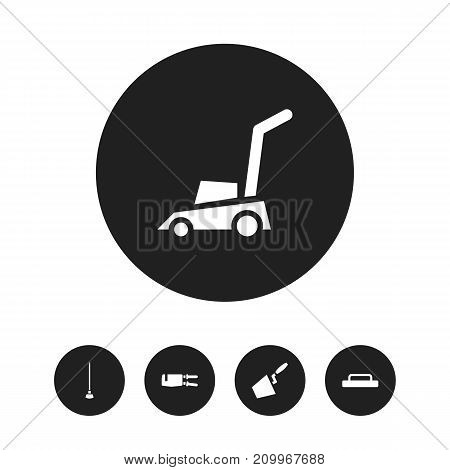 Set Of 5 Editable Tools Icons. Includes Symbols Such As Trowel, Grass Cutting Machine, Equipment And More