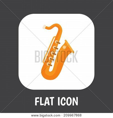 Vector Illustration Of Melody Symbol On Saxsaphone Flat Icon