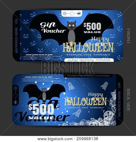 Vector blank of gift voucher to Halloween with vampire ghosts transparent pumpkins text sparkles on the gradient dark blue background with pattern of smiles.