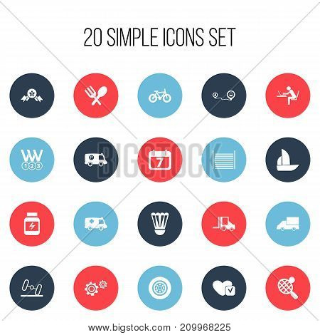 Set Of 20 Editable Complex Icons. Includes Symbols Such As Camion, Cogwheel, Dumbbell And More