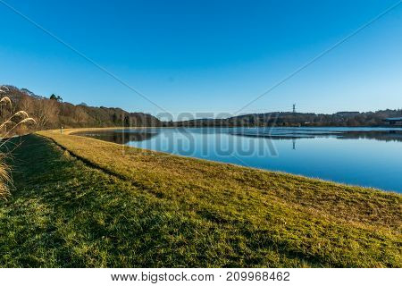 Inchgarth reservoir bank and water, cults, Aberdeen. poster
