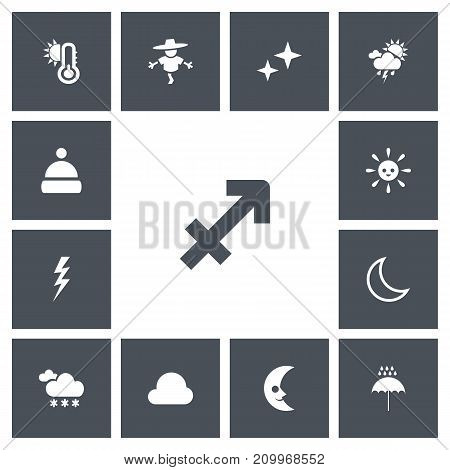 Set Of 13 Editable Weather Icons. Includes Symbols Such As Hot, Cloudburst, Smile Lunar And More
