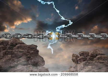 3d image of circular silver chain  against blue and orange sky with clouds