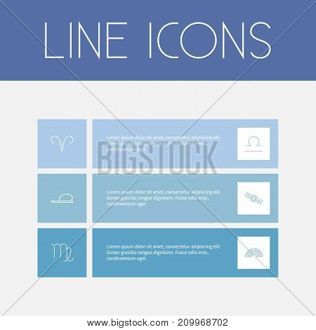 Set Of 6 Editable Weather Outline Icons. Includes Symbols Such As Rainbow, Virgin, Hat And More