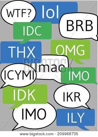 text messages bubbles with popular modern abbreviations like lol omg and wtf