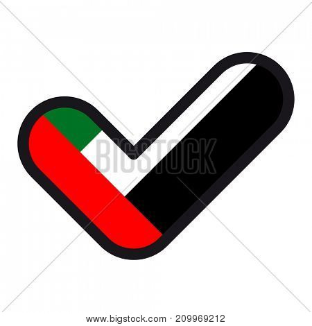 Flag of UAE in the shape of check mark, sign approval, symbol of elections, voting.
