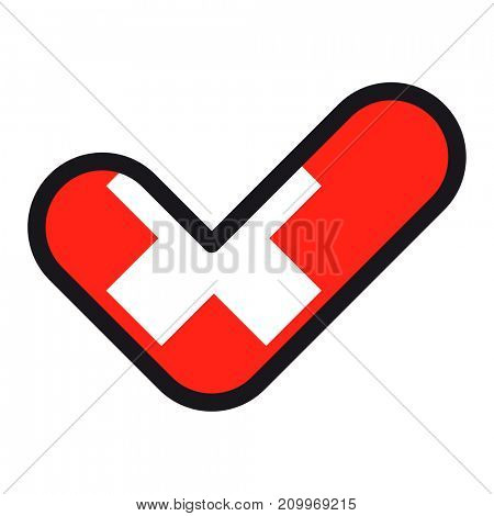 Flag of Switzerland in the shape of check mark, sign approval, symbol of elections, voting.