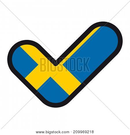 Flag of Sweden in the shape of check mark, sign approval, symbol of elections, voting.