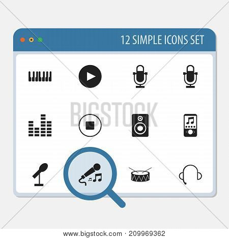 Set Of 12 Editable Mp3 Icons. Includes Symbols Such As Break Music, Phonogram, Studio Device And More