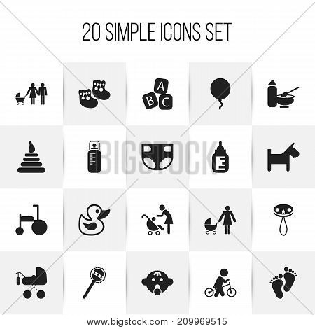 Set Of 20 Editable Baby Icons. Includes Symbols Such As Pacifier Sucking, Rattle, Bike And More