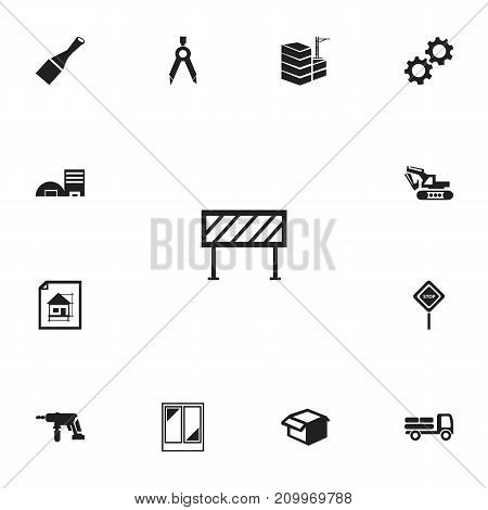 Set Of 13 Editable Construction Icons. Includes Symbols Such As Excavation Machine, Pickup, Cogwheel And More
